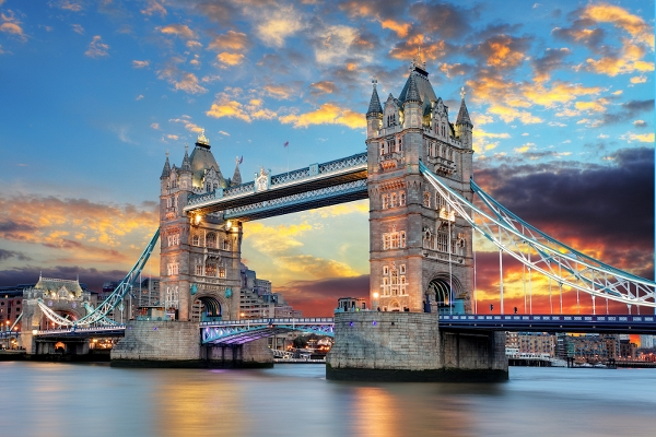 Tower Bridge in London UK at sunset