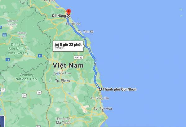 Khoảng cách từ Bình Định tới Đà Nẵng khoảng 323 km