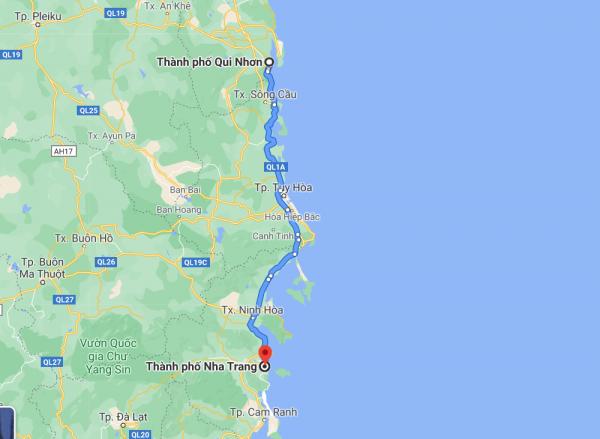 Khoảng cách từ Bình Định tới Nha Trang khoảng 213 - 283km
