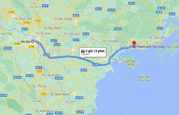 Khoảng cách từ thành phố Hà Nội đến Hạ Long theo Google Maps là 156km